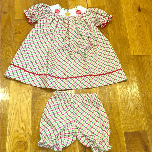 Smocked Christmas Dress.Boutique Jetterbugs Smocked Christmas Dress Set